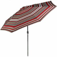 Sunnydaze 9' Outdoor Aluminum Patio Umbrella w/ Push Button Tilt - Awning Stripe