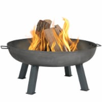 """Sunnydaze 34"""" Fire Pit Cast Iron with Steel Finish Wood-Burning Fire Bowl - 1 Fire Pit Bowl"""