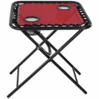 Sunnydaze Outdoor Folding Sling Camping Side Table with Mesh Drink Holders - Red
