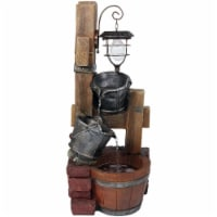 "Sunnydaze Rustic Buckets Outdoor Water Fountain 34"" Feature with Solar Lantern"