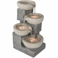 """Sunnydaze 4-Tier Stone Bowls Outdoor Water Fountain 22"""" Water Feature with LEDs"""