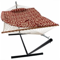 Sunnydaze Cotton Rope Hammock with 12' Steel Stand - Pad & Pillow - Royal Red