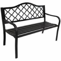 """Sunnydaze 2-Person Black Cast Iron Metal Lattice Outdoor Patio Garden Bench -50"""" - 1 outdoor bench"""