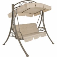 Sunnydaze Deluxe 2-Person Steel Frame Beige Cushioned Garden Swing with Canopy - 1 patio swing