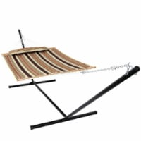 Sunnydaze 2-Person Quilted Hammock w/ Heavy-Duty Steel 15' Stand - Sandy Beach - 1 quilted hammock