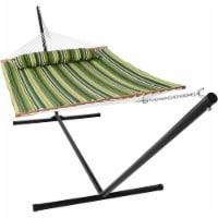 Sunnydaze 2-Person Quilted Spreader Bar Hammock Bed w/ 15' Stand - Melon Stripe - 1 quilted hammock