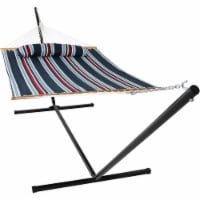 Sunnydaze Quilted Spreader Bar Hammock Bed with 15' Stand - Nautical Stripe - 1 quilted hammock