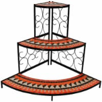 "Sunnydaze Large 3-Tier Mosaic Plant Stand Metal Corner Flower Pot Shelf - 40"" - 1 Stand"