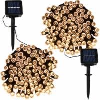 Sunnydaze Set of Warm White LED Solar Powered 34' String Light - 200 Bulbs - 2 strings of solar lights