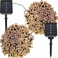 Sunnydaze 200-Count Warm White LED Solar-Powered Fairy String Lights - Set of 2 - 1 string of solar lights