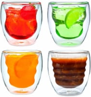 Curva Artisan Series Double Wall Beverage Glasses and Tumblers - Set of 4 8 oz Glasses