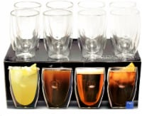 Moderna Artisan Series Double Wall 12 oz Beverage Glasses - Set of 8 Drinking Glasses
