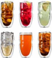 Serafino Double Wall 16 oz Iced Tea & Coffee Glasses - Set of 6 Insulated Drinking Glasses - 1