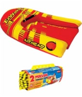 Airhead EZ Wake Trainer Inflatable Towable Boat Wakeboard Tube w/ 60' Tow Rope