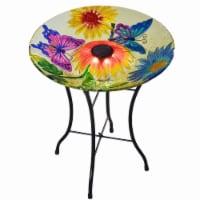 Peaktop Solar Bird Bath & Stand Outdoor Garden Fusion Glass Butterfly 3206880