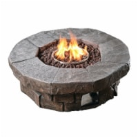 Peaktop Firepit Outdoor Gas Fire Pit Resin With Lava Rock & Cover HF11802AA - 1