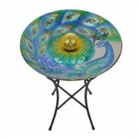 Peaktop Solar Bird Bath & Lights Outdoor Garden Fusion Glass Peacock 3601660