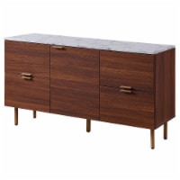 Versanora Wooden Sideboard With Faux Marble Top & Walnut Legs Ashton VNF-00081