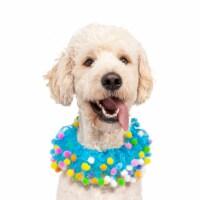 Midlee Blue Birthday Pom Pom Dog Collar (X-Large)