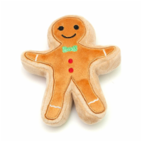 Midlee Christmas Sugar Cookie Plush Dog Toy (Gingerbread Man, Small) - 1
