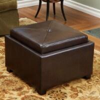 Durban Brown Leather Tray Top Storage Ottoman - 1 unit