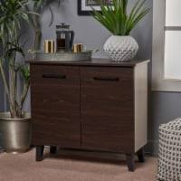Willson Modern 3-Shelf Walnut Finished Faux Wood Cabinet with Oak Accent