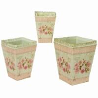 Dolce Mela French Country Planters Square Vintage Metal Decorative Vases & Flower Pots - 3