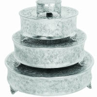 Benzara BM00213 Aluminum Cake Stand for Stylish Host, Polished Silver & Gray - Set of 4