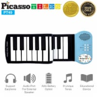 PicassoTiles® PT49 Kid's 49-Key Flexible Roll-Up Educational Piano Keyboard - 1