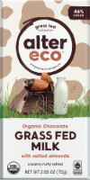 Alter Eco Organic Grass Fed Milk Chocolate & Salted Almonds Chocolate Bar