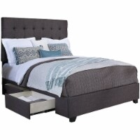 Manhattan Fabric Upholstered  Steel-Core  Platform Cal. King Bed/2-Drawers Gray - 1