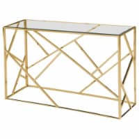 Best Master Morganna Stainless Steel Living Room Console Table in Gold - 1