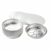 Aluminum Foil Pans - 25-Piece Round Disposable Tin Pans with Flat Board Lids