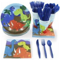 Dinosaur Party Dinnerware Set, Plates, Cutlery, Cups, and Napkins (Serves 24, 144 Pieces) - Pack