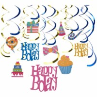 30-Count Birthday Party Swirl, Whirl Hanging Décor, Party Streamers, 35-38 - PACK