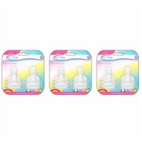 BornCare BCWS-164-2 3-6 Months, Wide Neck Silicone Nipple - 3 Pack