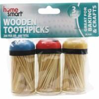 Home Smart 200 Per Jar Wooden Toothpicks (3-Pack) HS-01603 Pack of 36