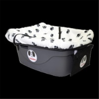 Fido Pet Products FRWB-S Pet Car Seat - White & Black Paws Cover with Small Harness - 1