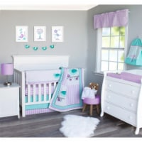 Pam Grace Creations BDNB-6-Love Lovebirds Crib Bedding Set  Lavender  Turquoise & White - 6 P