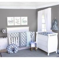 Pam Grace Creations BDNB-6-Elephant Indie Elephant Crib Bedding Set  Grey & White - 6 Piece