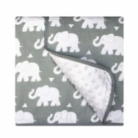 Pam Grace Creations BL-Elephant 45 x 36 in. Indie Elephant Reversible Chenille Dot Baby Blank