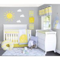 Pam Grace Creations BDNB-10-Sunshine Sunshine Crib Bedding Set  Yellow  Grey & White - 10 Pie