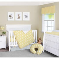 Pam Grace Creations BDNB-3-Kangaroo Honeydew Kangaroo Crib Bedding Set  Yellow Gold & White - - 1