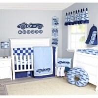 Pam Grace Creations BDNB-6-Cars Classic Racecars Crib Bedding Set  Navy Blue & Baby Blue - 6 - 1