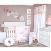 Pam Grace Creations BDNB-6-Rose Watercolor Rose Crib Bedding Set  Multi Color - 6 Piece - 1