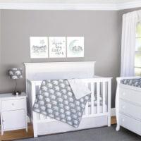 Pam Grace Creations BDNB-3-Elephant Indie Elephant Crib Bedding Set  Grey & White - 3 Piece