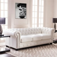 Brookfield Leather Chesterfield Sofa In White - 1