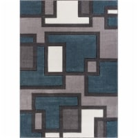 Well Woven 600967 Imagination Squares Modern Rug, Blue - 7 ft. 10 in. x 9 ft. 10 in.