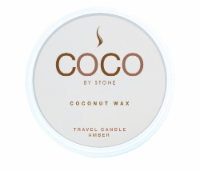 COCO by Stone Amber Coconut Wax Candle Travel Tin - White