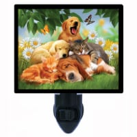 Dog And Cat Decorative Photo Night Light. Sleepy Heads. Free Extra Picture For Lights. - 1